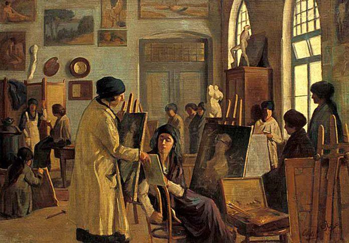 Tarihimizde çağdaş resim çalışmalarını başlatan ilk kadın ressam Mihri Müşfik Hanım'dır.